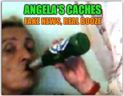 Angela drinking beer meme