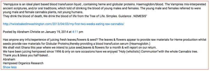 Abe's wacky ideas on hemp transfusions