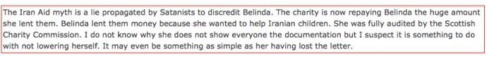 Belinda and Iran Aid