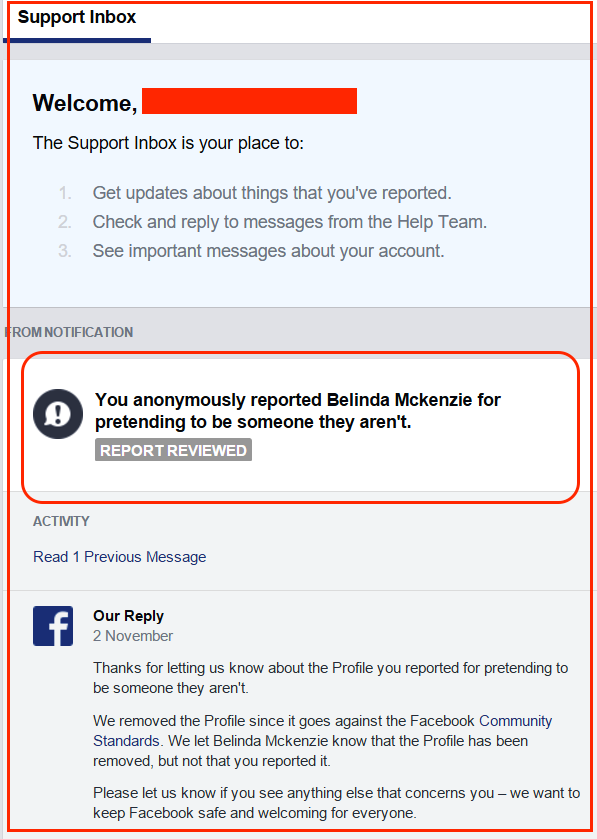 Belinda-Facebook fake profile