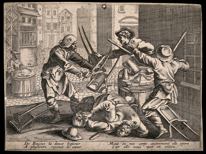 V0019462 A drunken street brawl between four young colporteurs and a Credit: Wellcome Library, London. Wellcome Images images@wellcome.ac.uk http://wellcomeimages.org A drunken street brawl between four young colporteurs and a man, with two accompanying couplets. Etching, 16th century (?). Published:  -  Copyrighted work available under Creative Commons Attribution only licence CC BY 4.0 http://creativecommons.org/licenses/by/4.0/