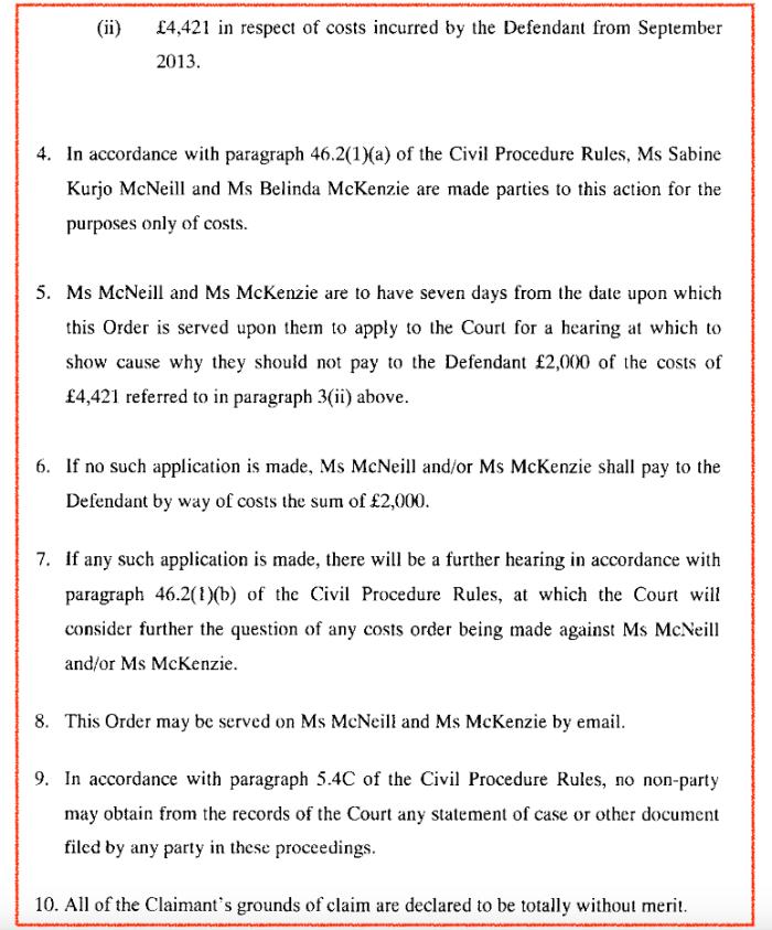 Belinda Sabine Court Order Melissa Laird 2