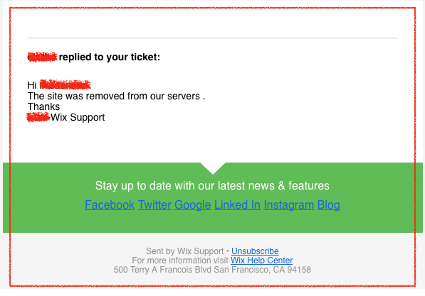 Wix support ticket