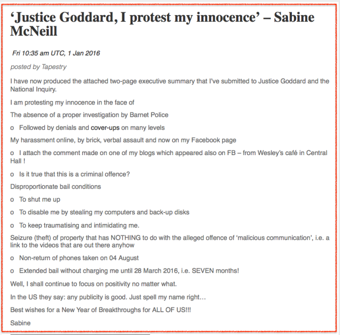 Sabine protests innocence 2016-01-01