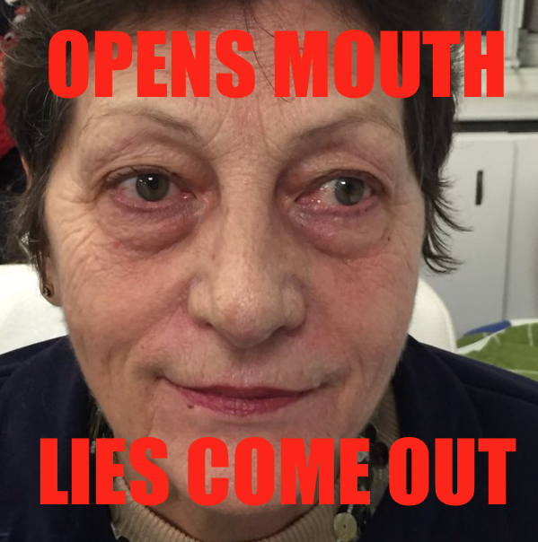 Sabine-OPENS MOUTH LIES COME OUT