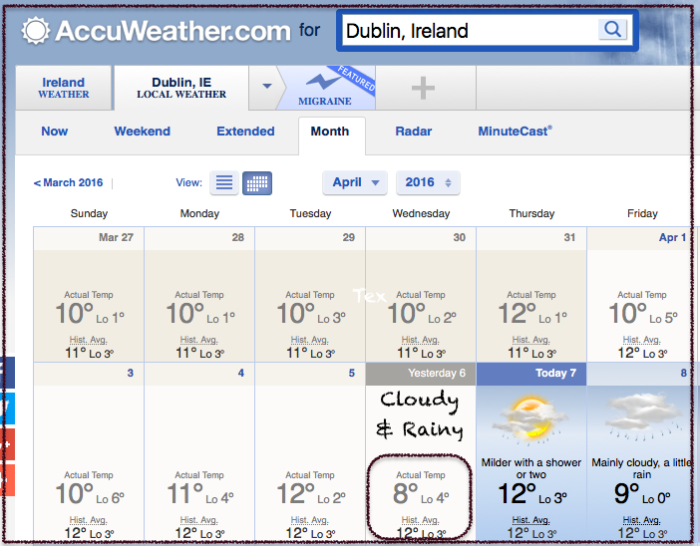 Angela-Dublin-airport weather 2016-04-07