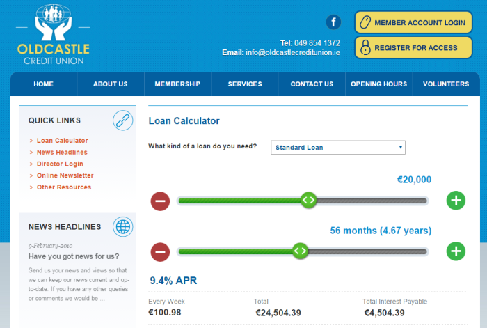 Oldcastle CU-loan calculator