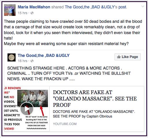 Maria MacMahon Orlando False Flag 2016-06-16