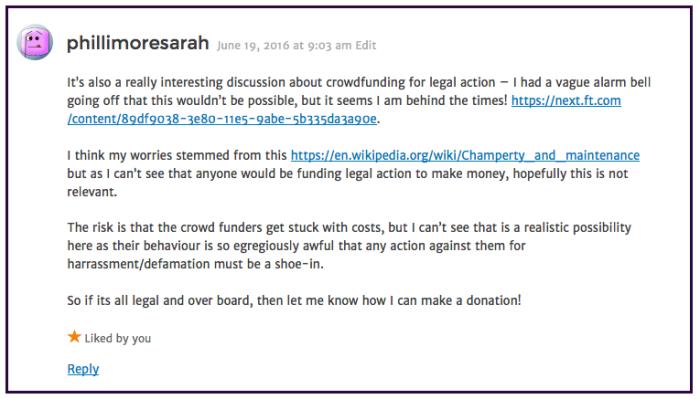 Sarah Phillimore-lawsuit-fighting fund 2016-06-19