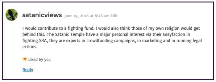Satanic Views-lawsuit-fighting fund 2016-06-19