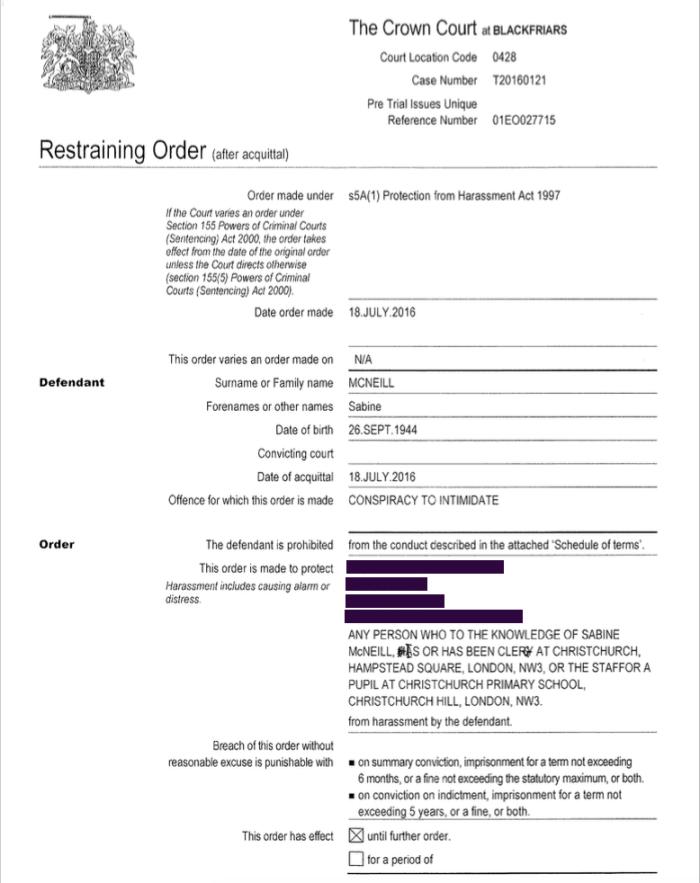 Sabine Restraining Order 1 2016-07-19