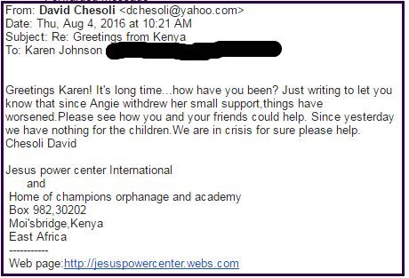 David Chesoli letter