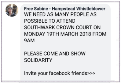Support Sabine at Court 19 March 2