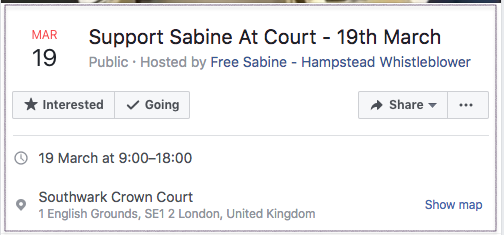 Support Sabine at Court 19th March