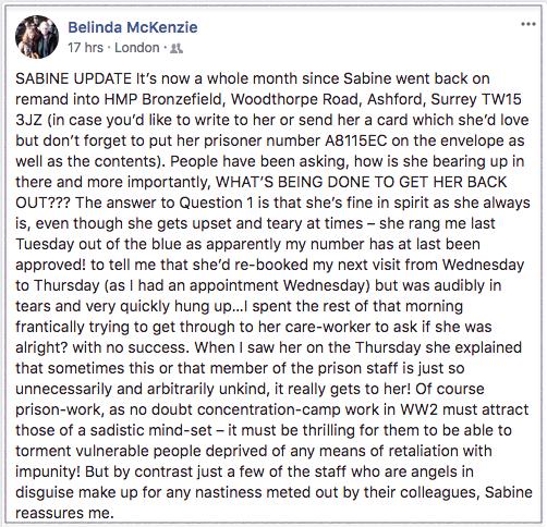 Belinda re Sabine 2018-04-03 1