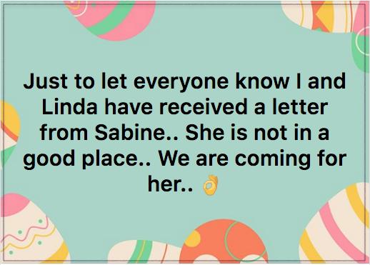 Tracey Morris re Sabine 2018-04-01 2