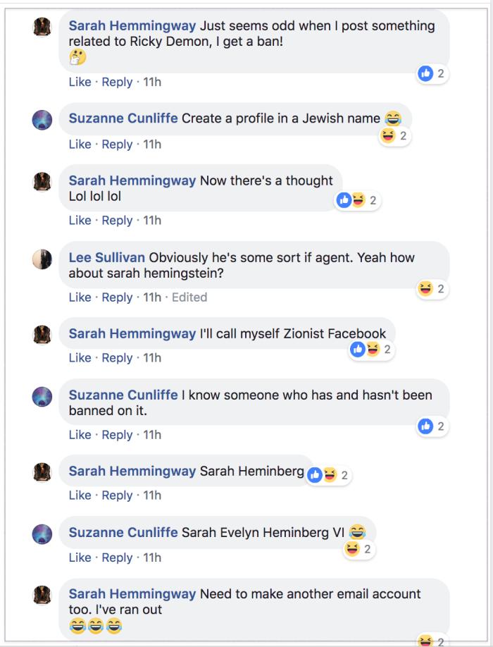 Sarah Hemingway anti-semitic 2018-07-14 1
