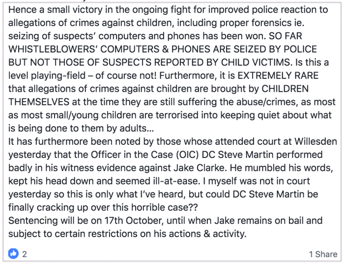 Belinda via Wesley 2018-10-04 Jake Clarke verdict 2