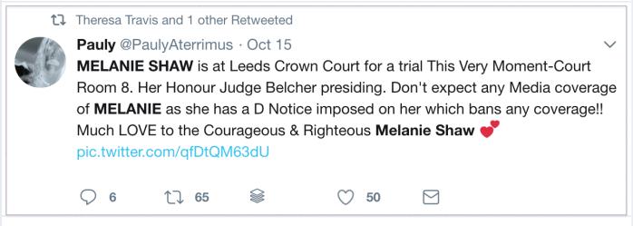 Melanie Shaw D Notice 2018-10-16 Twitter